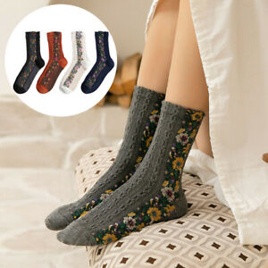 Fashion-Women-Cotton-Floral-Embroidered-Weave-Ankle-Socks-Breathable-Soft