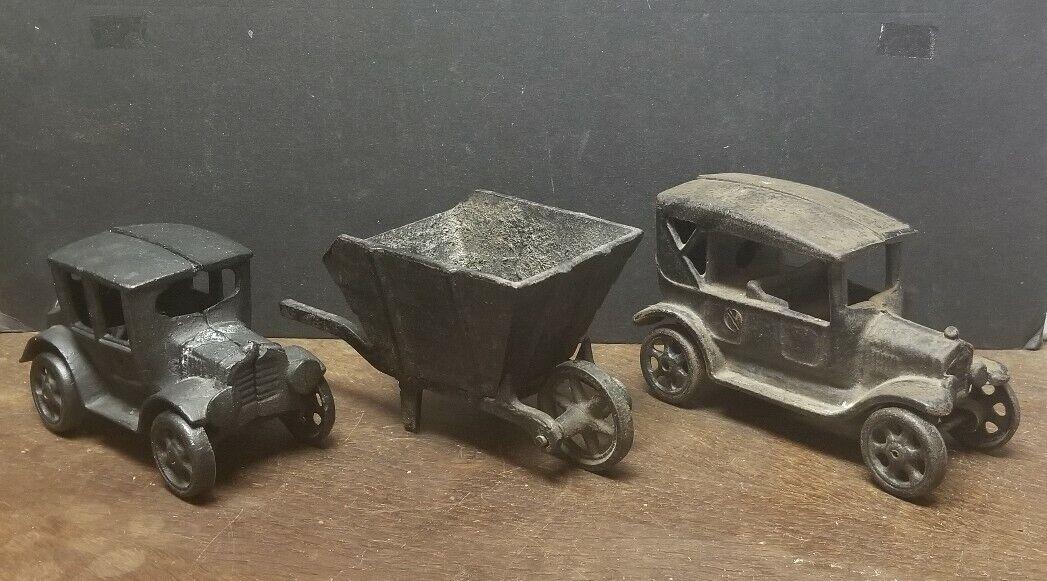 Vintage 1920s Solid de hierro fundido Juguete 6  Ford Modelo T coche marcado JM135 Cocheretilla Y Coche
