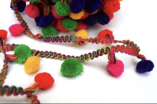 5 Meter Latest Indian Multicolour Pom Pom bobble Fringe Trim Best Quality lace