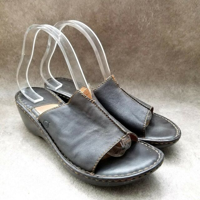 Born Womens  W6457 Sz 9 M Brown  Leather Slide Wedge Sandals