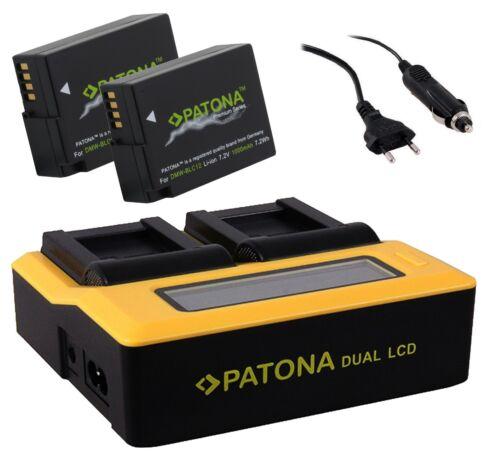 2x batteria premium per Panasonic Lumix dmc-gh2//dmw-blc12 e DUAL LCD caricabatterie