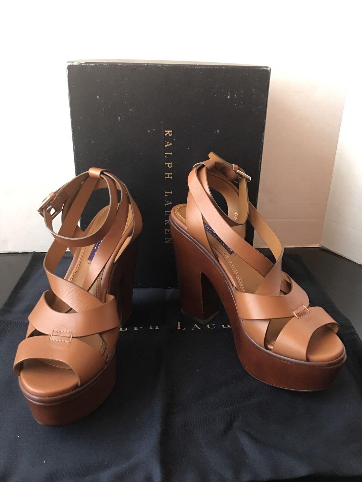 miglior prezzo Ralph Lauren Collection oro Calf Leather Alecia Alecia Alecia  Platform Sandals New  795 9.5  consegna veloce