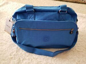 Kipling-New-Weekend-Travel-Carry-On-Tote-Shoulder-Bag-Blue-Jay-Large-Monkey-NWT