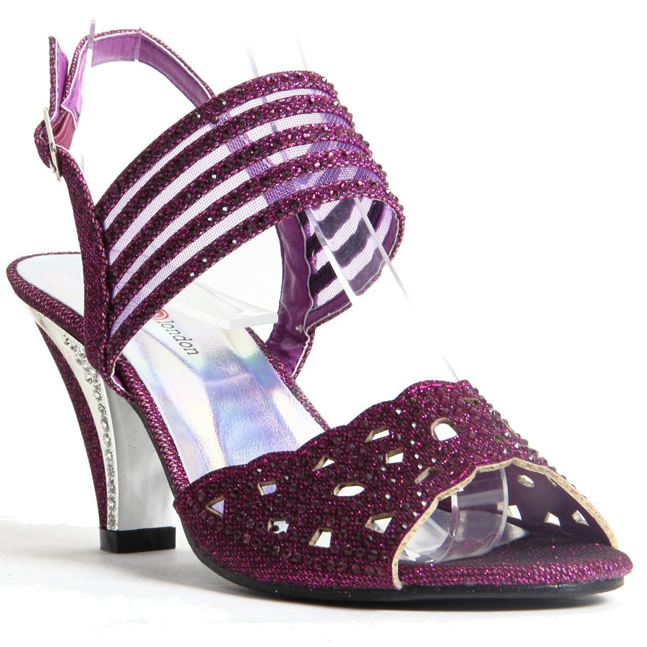 Womens Ladies Sparkling Diamante Block Heel Party Shoes Buckle Up Sandals Purple
