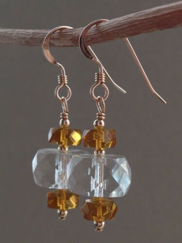 Art Deco Clear and Amber Faceted Glass 14ct Rolled Gold Earrings