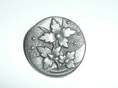 """Adorable Antique Reproduction Flowers Metal Shank Button - Silver Toned 1-1/16"""""""