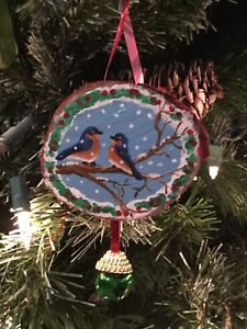Details About Hand Painted Wood Slice Christmas Ornament Bluebird Glitter Snow Decor Holiday