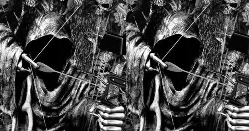 Cornhole Wraps Black Camo Decals Bow Hunter Grim Reaper Buck Skull SET OF 2