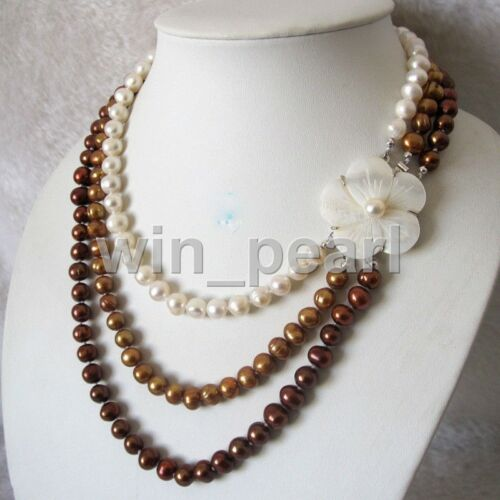 3Row 8-9mm multicolor Freshwater Pearl Necklace Shell Clasp Natural 17-19 Inch