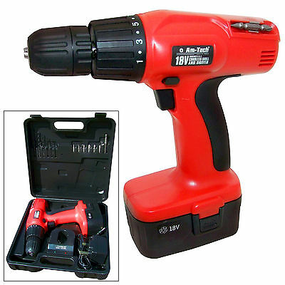 18V CORDLESS POWER DRILL & DRIVER ELECTRIC SCREWDRIVER + ASSORTED BITS + CASE