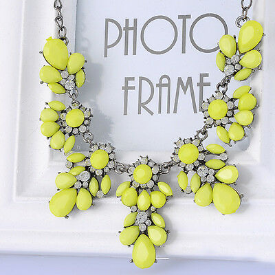 1PC Bohemia Yellow Flower Bib Choker Chunky Pendant Chain Statement Necklace