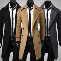 Mens Warm Slim Stylish Trench Coat Double Breasted Long Jacket Coat Outwear