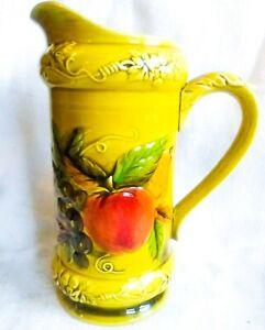 Vintage-Geo-Z-Lefton-Japan-4334-Gold-Pitcher-Hand-Painted-Embossed-Fruit-Design