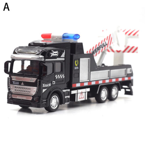 1:48 Scale Mini Rescue Police Tow Truck Trailer Pull-back Car Metal Model Toys
