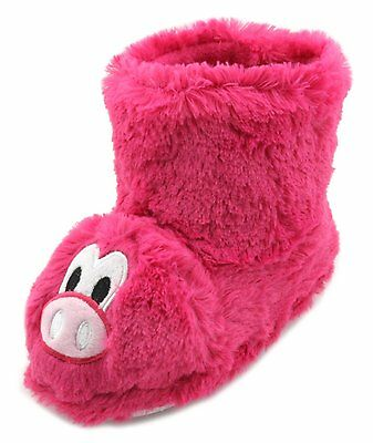 Girls Pink Pig Fluffy Faux Fur Fun Novelty Slipper Boots Available In 4 UK Sizes