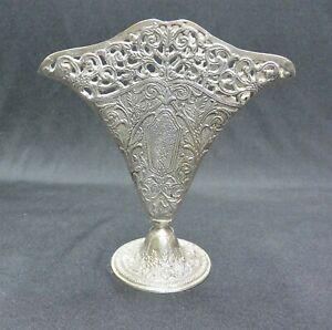 Vintage Art Nouveau Silver Plate Fan Vase Ebay