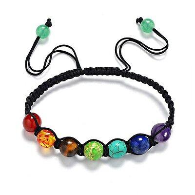 7 Chakra Healing Balance Beaded Bracelet Braided Lava Yoga Reiki Prayer Stones