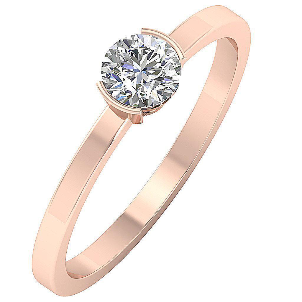 Solitaire Engagement Genuine Diamond Ring SI1 G 0.55 Ct Semi Bezel Set 14K gold