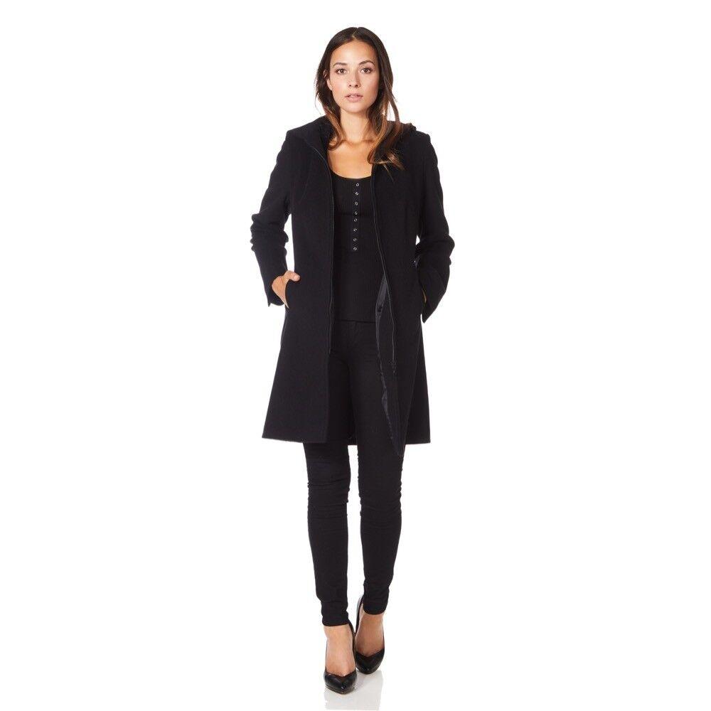 De La Creme-para mujer Negro con Capucha invierno abrigo  de lana de cachemira  ventas de salida