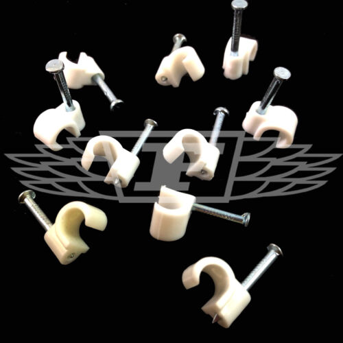 AERIAL COAX SATELLITE TV PHONE WHITE 7.0mm ROUND CABLE CLIPS WITH FIXING NAILS