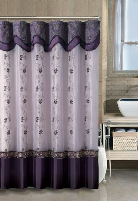 Bathroom 2 Layer Embroidered Fabric Shower Curtain Attached Valance