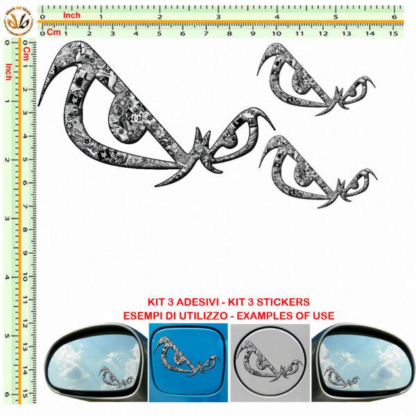 CORNA adesivo serbatoio specchietti HORNS sticker bomb mirror auto helmet  3pz