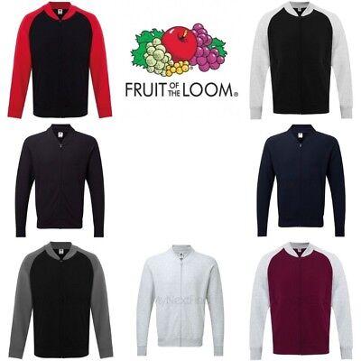 Mens Jacket Raglan Sleeve Fruit of the Loom Sweatshirt Jacket Top Pullover SS928