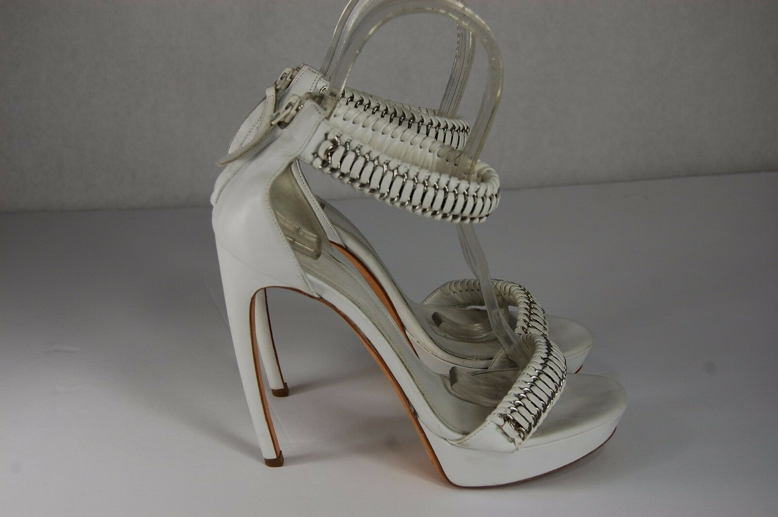 Alexander McQueen 'Armadillo' Weiß ANKLE ANKLE ANKLE STRAP CHAIN SANDALS EU 39.5 US 9.5 ad8b59