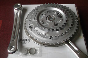 Bike-Triple-Chainset-28-38-48-Silver-170mm-Alloy-Crank-Arms-amp-Steel-Chain-Rings