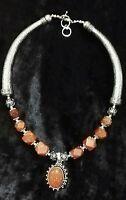 Indian Copper Sunstone & Silver Torque Statement Necklace Boho Ethnic 19''