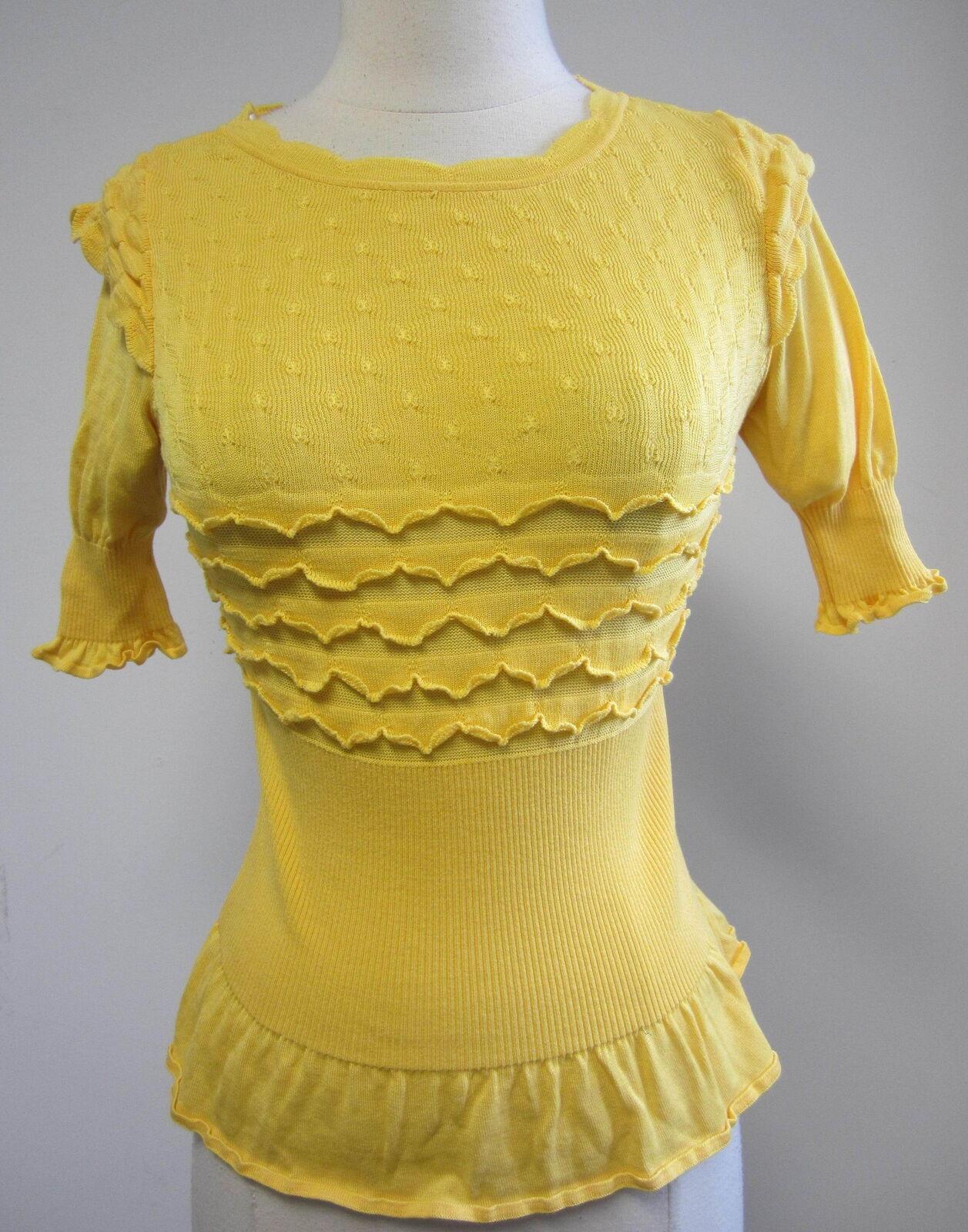 RED VALENTINO yellow knit short- sleeve ruffled sweater womens sz S