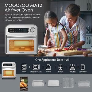 MOOSOO Air Fryer Oven, 10.6QT Air Fryer 1500W, 10-in-1 Oil-less Stainless Steel