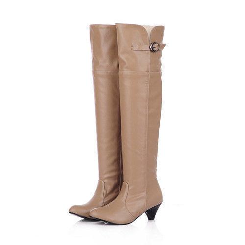 botas coscia  tacco 5 cm beige eleganti comodi caldi pelle sintetica 9400