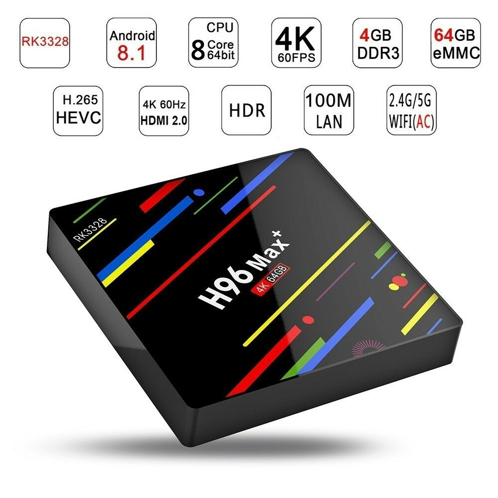 H96MAX+ 4+64G Android 8.1 4K Smart TV BOX WIFI RK3328 Quad Core Media Player NEW Featured
