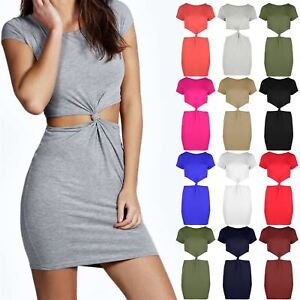 Womens-Mini-Dress-Ladies-Bodycon-Dresses-Knot-Front-Back-Cap-Sleeve-Side-Cut-Out