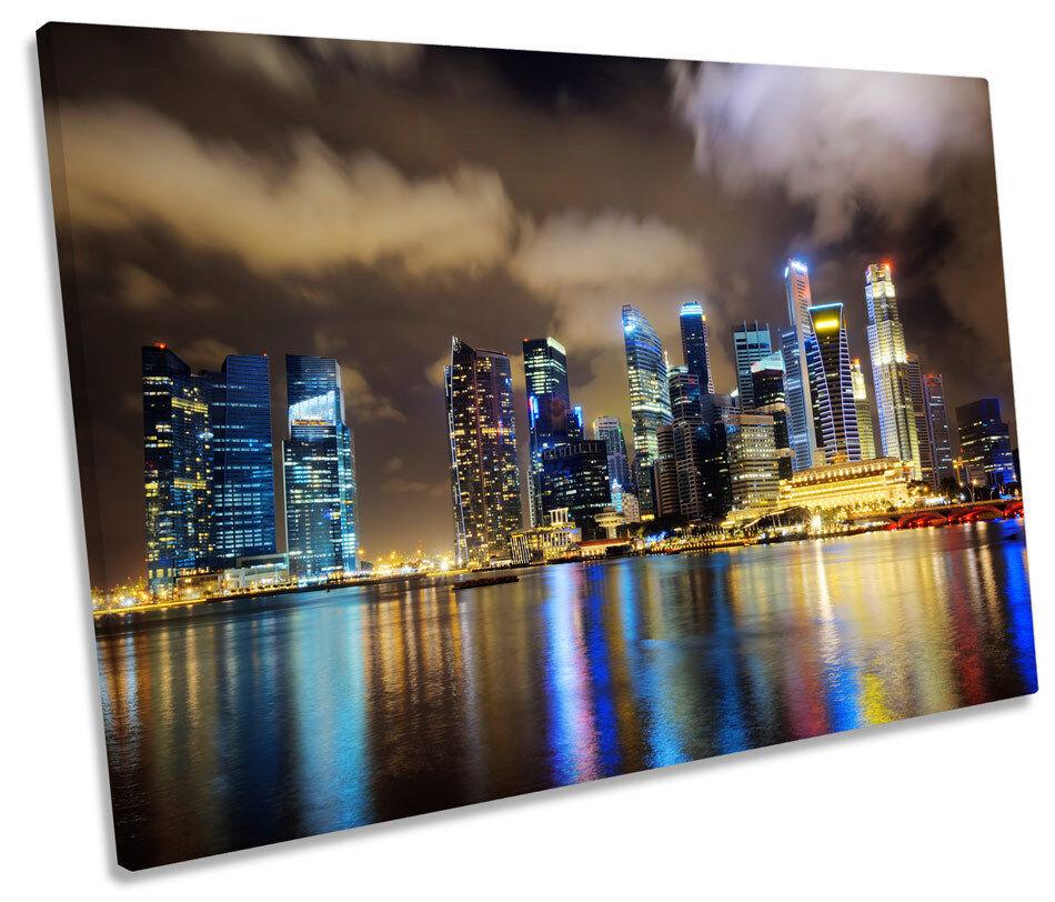 Città di di di SINGAPORE SKYLINE NOTTE TELA SINGOLA Wall Art incorniciato stampa 94bf27
