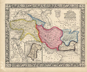 "1864 S.A. Mitchell ""Map of Persia...Afghanistan, Beloochistan."""