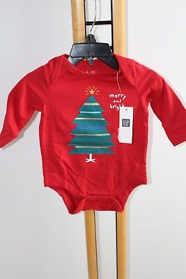 Baby Gap Boys Top Shirt  Bodysuit Christmas Tree Red NWT Size 6-12 Months NEW