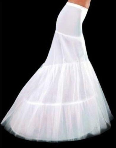 White 2-Hoop Mermaid Wedding Dress Bridal Petticoat Crinoline Underskirt #1 New