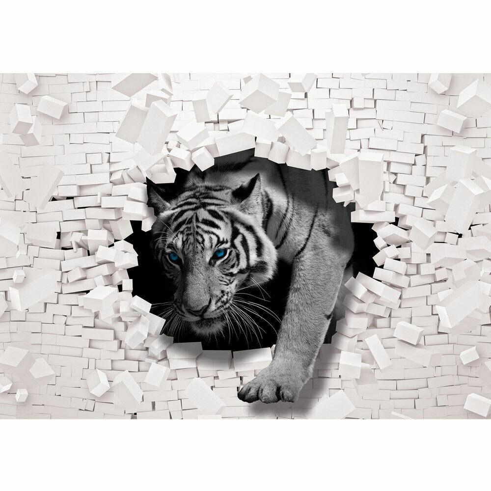 Fototapete Tiger Mauer Durchbruch liwwing no. 3309