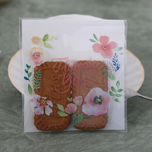 100x Transparent Flower Pattern Food Storage Bag Cookie Candy Packaging LG