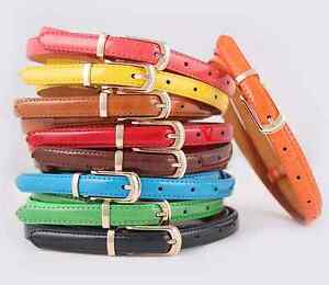 Women-Lady-Girls-PU-Leather-Skinny-Thin-Narrow-Buckle-Waist-Belt-Waistband-Strap