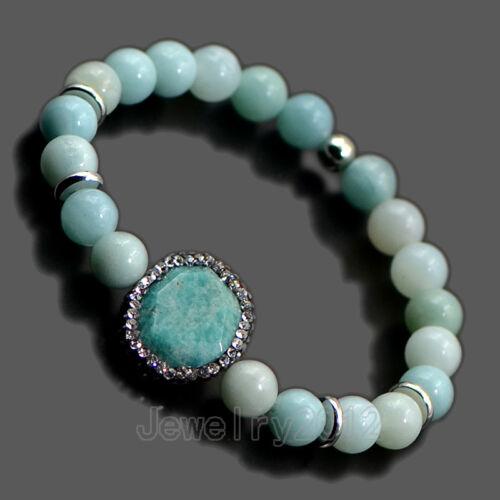 Femme homme 8 mm natural gemstone Pave Zircone cubique Strass Extensible Bracelet Perles