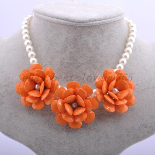 Golden Chain Resin Beads Rose Fleur strass Bib déclaration collier New Hot
