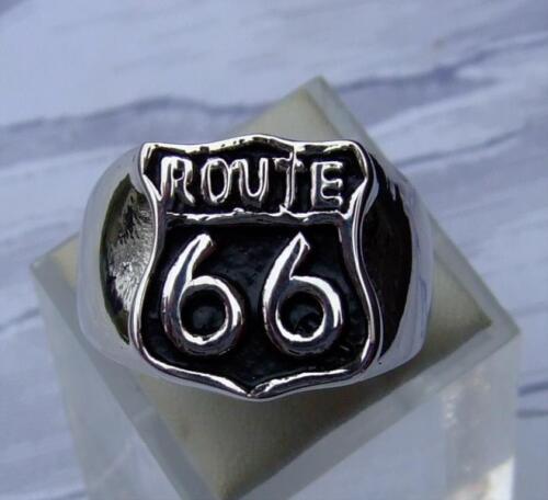 EDELSTAHL RING SIEGEL RING ROUTE 66 MOTOR CYCLE STAINLESS STEEL ROCKER BIKER