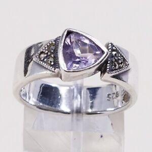 Sz-9-Vtg-Sterling-Silver-Handmade-Ring-925-w-Amethyst-n-marcasite-inlay