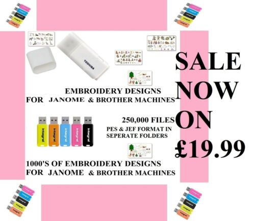 Brother Babylock Janome fichiers 250,00 Embroidery Designs sur USB