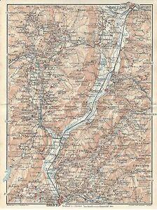 Cartina Geografica Trento.Carta Geografica Antica Valle Adige Da Trento A Bolzano 1920 Old Antique Map Ebay