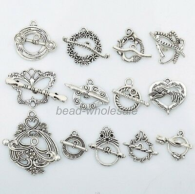13Sets random Styles Tibetan Silver Butterfly Heart Toggle Clasps DIY Finding.