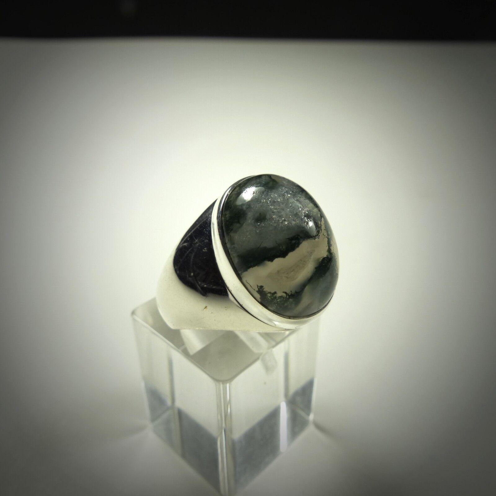 Ring Gr. 61, silver 925 mitMoosachat,Cabochon aus Indien